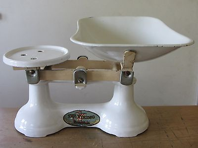 F J Thornton & Co, The Viking Vintage Antique Kitchen Scales with Weights, White