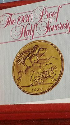 22ct gold 1980 proof half sovereign in royal mint box