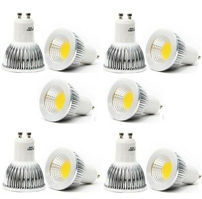 10x GU10 6W CREE Dimmable COB LED spot Light Bulb Downlight lamps silver Warm WH