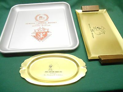 Lot of 3 Vintage KNIGHTS OF COLUMBUS K of C Commemorative Trays 1977/1980/1983