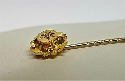 lovely antique victorian solid 15ct gold & diamond tie stick pin flower design