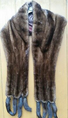Real Mink Fur Vintage large stole shawl with 8 tails scarf coat jacket collar