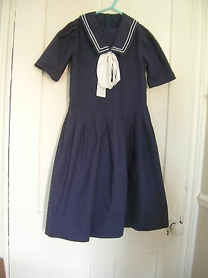 Vintage Laura Ashley Girls Navy Blue Sailor dress size 7-8 yearsNautical Classic