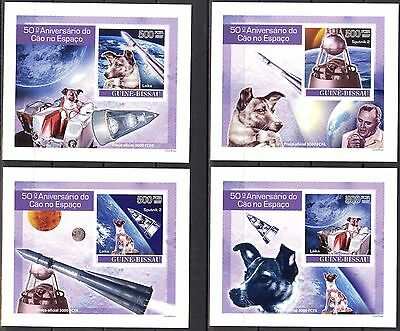 {B06} Guinea - Bissau 2007 Dogs in Space 4 S/S DeLuxe MNH**
