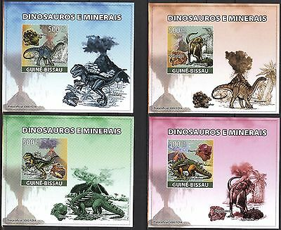 {B10} Guinea - Bissau 2008 Dinosaurs 4 S/S DeLuxe MNH**