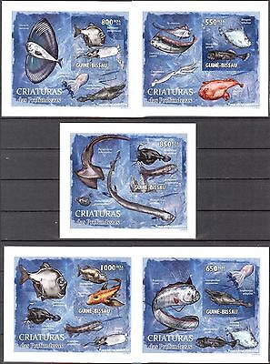 {B17} Guinea - Bissau 2010 Fishes Creatures of the Depths 5 S/S DeLuxe MNH**