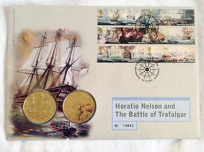 2005 HORATIO NELSON AND BATTLE OF TRAFALGAR 2 x £5 FIVE POUNDS BU COINS FDC PNC
