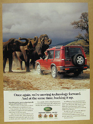 1999 Land Rover Discovery Series 2 II elephants photo vintage print Ad
