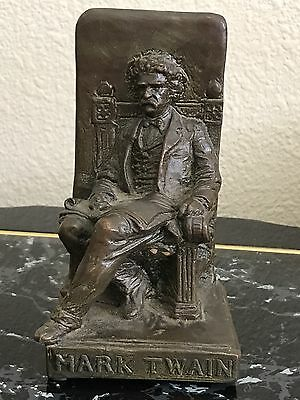 Antique American Mark Twain Bronze W.b. Art Statue Sculpture Book Bookends