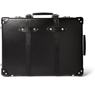 """NWT $1,800 Globe-Trotter 21"""" Croc-Effect Carry On Suitcase - Black"""