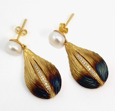 New Sterling Silver Yellow Gold Vermeil Art Nouveau Style Leaf Pearl Earrings