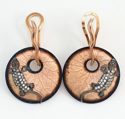 New Sterling Silver Rose Gold Vermeil Art Nouveau Style Lizard Lily Pad Earrings