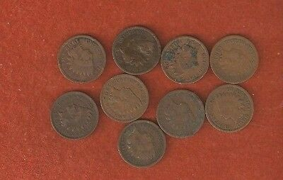 9 Assorted United States Indian Head One Cent Coins well worn L561