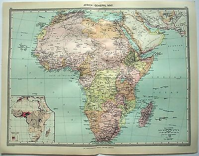 Original Map of Colonial Africa c1907 by George Philip & Sons