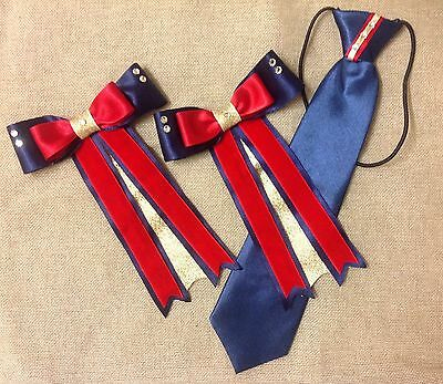 childs equestrian showing set - show tie and bows NAVY RED GOLD  - Lead Rein