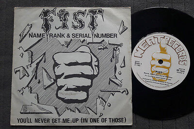"""FIST Name Rank & Serial Number UK Neat 7"""" picture sleeve record vinyl NWOBHM"""