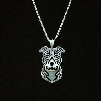 Pit Bull Dog Pendant Necklace Silver Tone ANIMAL RESCUE DONATION