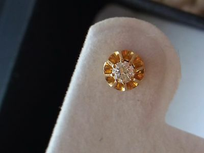 Vintage Yellow Gold Buttercup Setting Diamond Stud Earrings