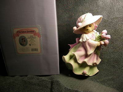 Cherished Teddies OPHELEA - TALL BEAR WITH BOUQUET OF TULIPS  NEW