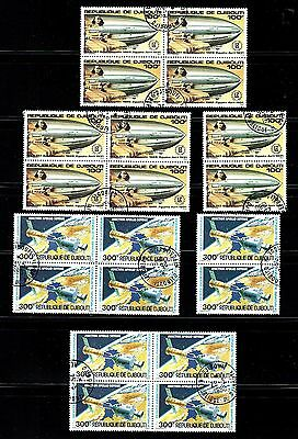 AZ3G Djibouti lot of 20  stamps used Sc.# C-136 Apollo, C-138 Zeppelin, Cat.$15.
