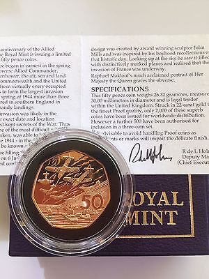 1944-1994 D-Day Gold Proof Piedfort Fifty Pence Piece