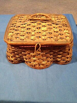"Antique Sewing Basket Woven Straw Wood Base Satin Tufted Lining 9.1/2"" 6"" By 5"""