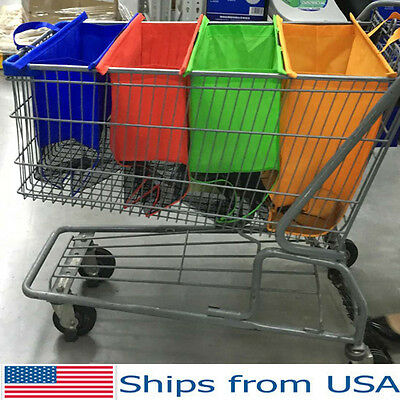 Reusable Shopping Bags Eco Foldable Large Tote Grocery Cart Storage - Set of 4