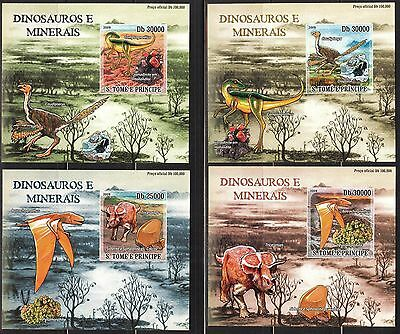 {P16} Sao Tome & Principe 2009 Dinosaurs 4 S/S DeLuxe MNH**