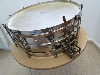 Ludwig 15''x5'' Super Ludwig 2 pc brass shell 1920's. Kalfo Heads