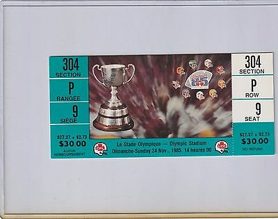 1985 Grey Cup Full Ticket B.C. Lions CFL Olympic Stadium Montreal