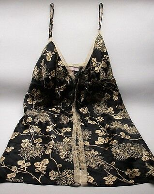 Victoria's Secret Nightgown Baby Doll Black Satin and Gold LARGE