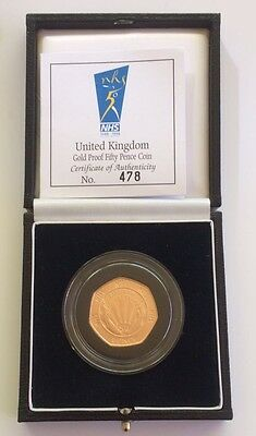 1998 Gold Proof Nhs Fifty Pence Piece