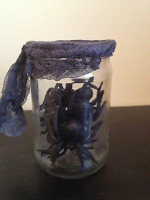 MAD SCIENTIST LAB WITCH POTION PROP SPIDERS IN GLASS JAR goth stocking stuffer