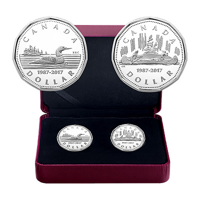 30TH ANNIVERSARY OF THE LOONIE - 2017 $1 2 Coin Fine Silver Set - RCM CANADA