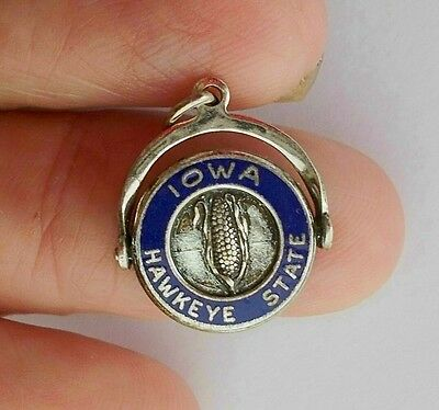 VINTAGE~Sterling Silver & Enamel MOVABLE IOWA Hawkeye State SPINNER CHARM w CORN