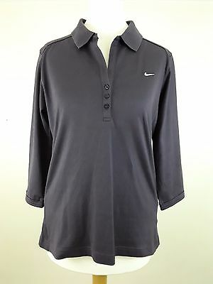 Nike Ladies Golf Polo Shirt Purple Top 3/4 Length Sleeves Size 10/12 Fit Dry