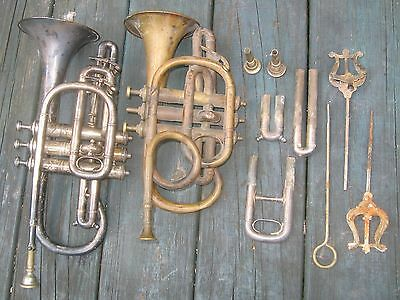 Two Antique Cornets, Two Extra Mouthpieces, Three Slides. Repair Projects.