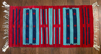 "Zapotec hand woven rug 2'3""x4'11"" (ca 1999 Mexico) (barely used) (69cmx150cm)"