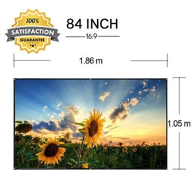 EUG 16 9 Portable Projector Screen 84 inch Foldable Wall Ceiling Mount for...