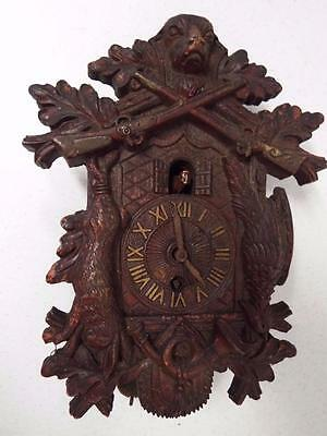 Carved Wooden Hunting Lux Cuckoo Clock Made Waterbury Conn Usa