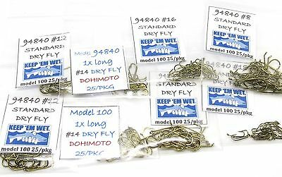 200 Dry Fly Tying Hooks #18 #16 #14 #12 #10 (model 100 / 94840) assortment