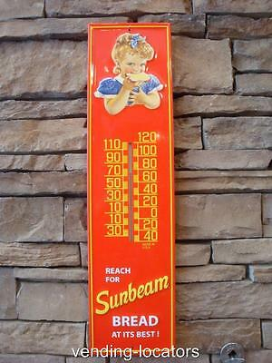 SUNBEAM BREAD Metal Thermometer Cafe 1950's Style Colonial Wonder Rainbo Sign
