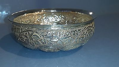 Unusual large indian ornate silver nut  dish