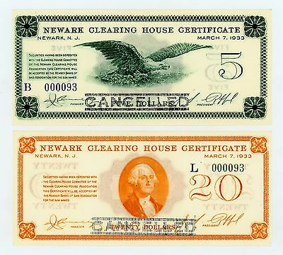 (Pair) 1933 $5, $20 Newark Clearing House - NEW JERSEY Depression Scrips CU