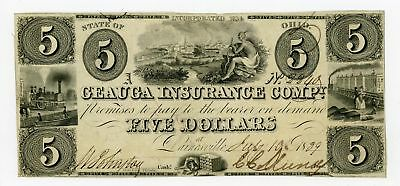 1839 $5 The Geauga Insurance Compy. - Painesville, OHIO Note