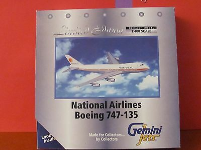 GeminiJets L.E. 1:400 scale diecast model National B-747 Commercial Airliner