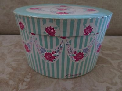 Vintage Green Cannon Hat Box Oval with Roses
