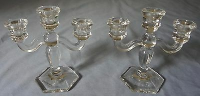 Vintage Pair Crystal 3 Arm Candelabras Pressed Glass Candle Stick Holders
