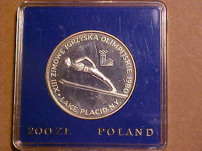 Poland 1980 Silver 200 Zlotych, Olympic Skiing, Proof