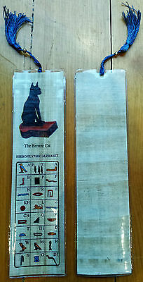 Egyptian Papyrus Bookmark - The Bronze Cat and Heiroglyphic Alphabet - Free Post